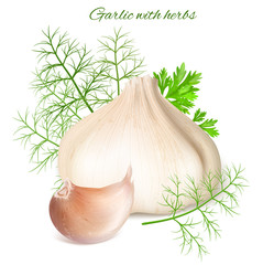 Garlic with herbs.