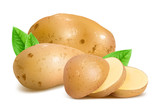 Potatoes with slices and leaves.