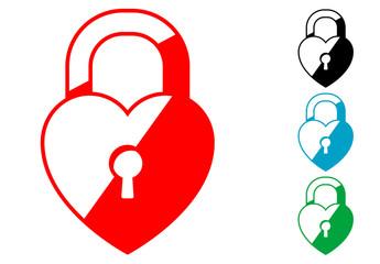 Pictograma candado corazon en varios colores