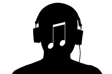 Silhouette man listen the music