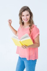 Hipster woman holding book