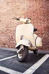 Italian Vespa motorcycle Parked on the street