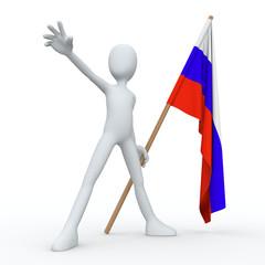 3D Man Flag RUS