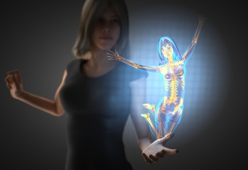 woman and hologram with bones radiography