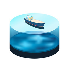 Isometric ship on the water
