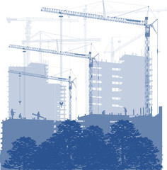 house building and cranes blue illustration