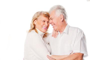 Happy senior couple in love. Isolated on white.