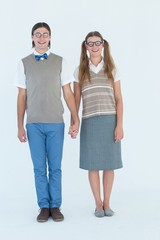 Geeky hipster couple holding hands