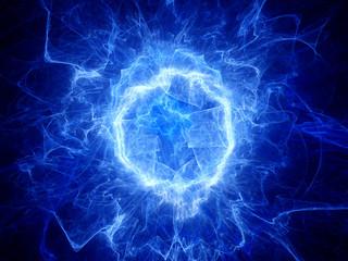 Blue glowing round shape energy field
