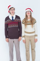 Sad geeky hipster couple