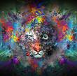 яркий абстрактный фон с тигром - 80312992