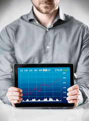 Man Holding Table with Conceptual Graph Display