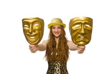 Girl in golden mask isolated on white