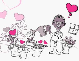 senior man gardening with heart
