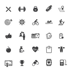 Fitness Icons set - set of fitness icons / amenities
