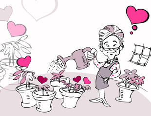 senior woman gardening with heart