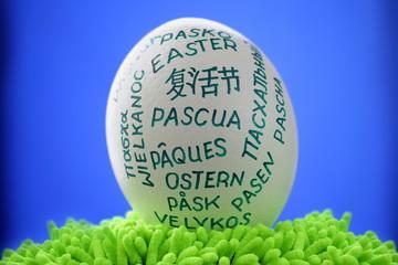 White  giant easter egg on green groundwork on blue window