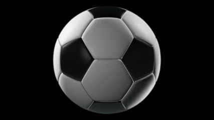 Soccer Ball, loop seamless, isolated black backgraund