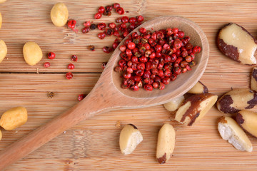 nuts and pink peppercorn