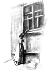 Young lady under the window. Illustration for Dickens novel