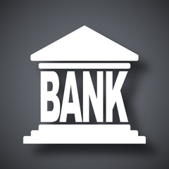 Bank building icon, vector