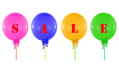 Colorful  group of balloons isolated on white, concept of sale m