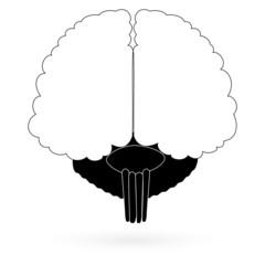 Black icon brain. Raster.