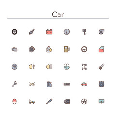 Car Colored Line Icons