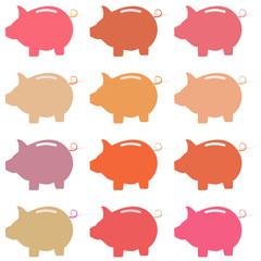 Icons pig piggy bank. Raster.