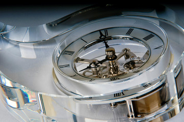 Detail of a clock in a glass block