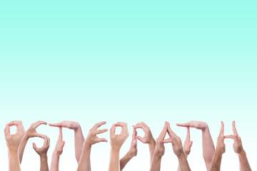 Das Wort Osteopath aus Händen geformt