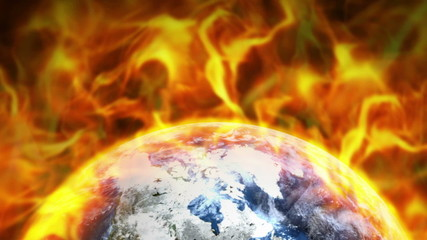 Fiery Earth in Flames Ring Background