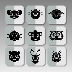 Black animals icons