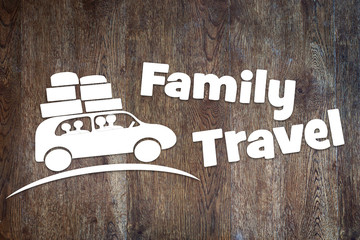 Concept of family travel by a car