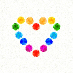 Colorful heart of the ink spots.