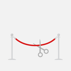 Scissors red rope silver barrier stanchions turnstile Flat