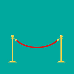 Red rope golden barrier stanchions turnstile on green  Flat