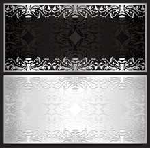 Luxury silver gift certificate in vintage style