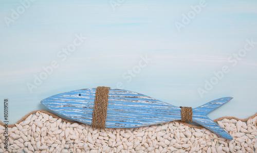 Leinwanddruck Bild Blauer Deko Fisch als christliches Symbol zur Taufe