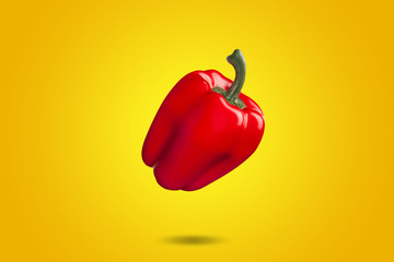 Red bell pepper on yellow background whit gradient. Colorfull