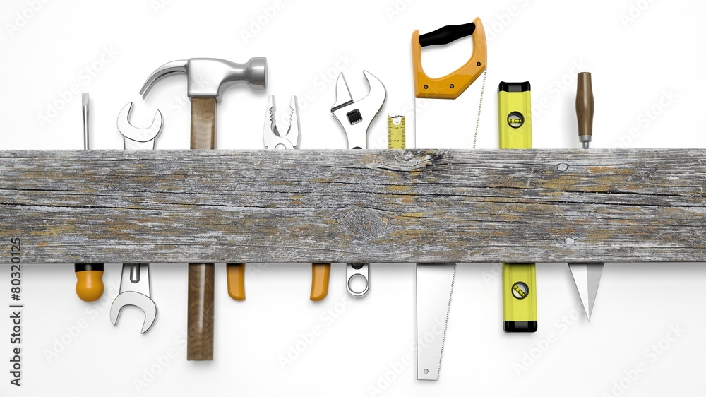 Various tools and wood with copy space, isolated on white