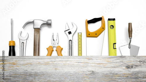 Leinwanddruck Bild Various tools and wood with copy-space, isolated on white