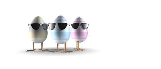 Hippe paaseitjes met zonnebril