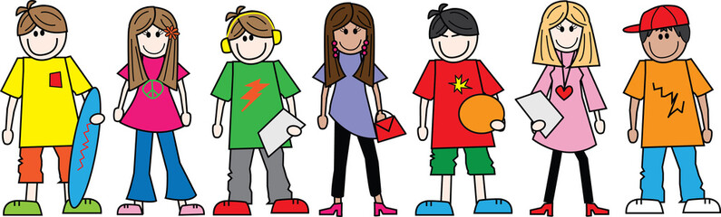 mixed ethnic teens teenagers