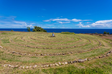 Person Sitting in Maui Labyrinth