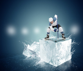 Hockey player on the ice Cube - face-off moment
