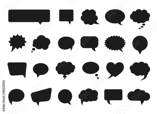 Talk and think vector comics bubbles silhouettes - 80320514