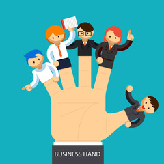 Business hand. Open hand with employee on fingers. Management
