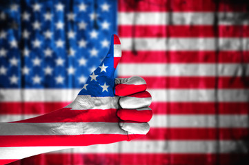 Hand covered in flag of USA.