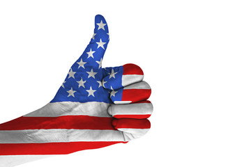 Hand with thumb up gesture in colored American national flag.